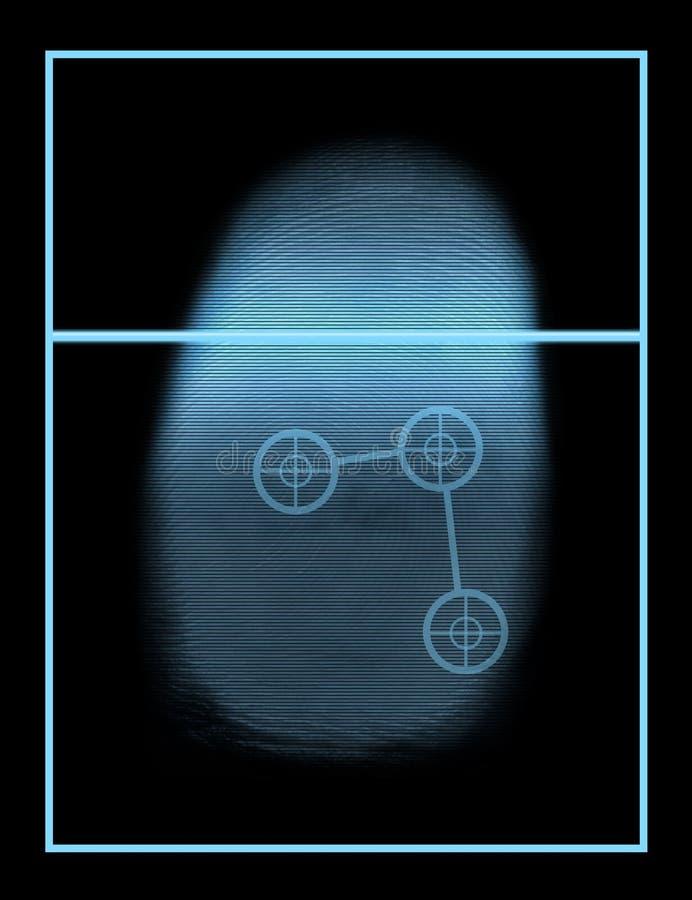 Sistema biométrico del explorador del pulgar ilustración del vector