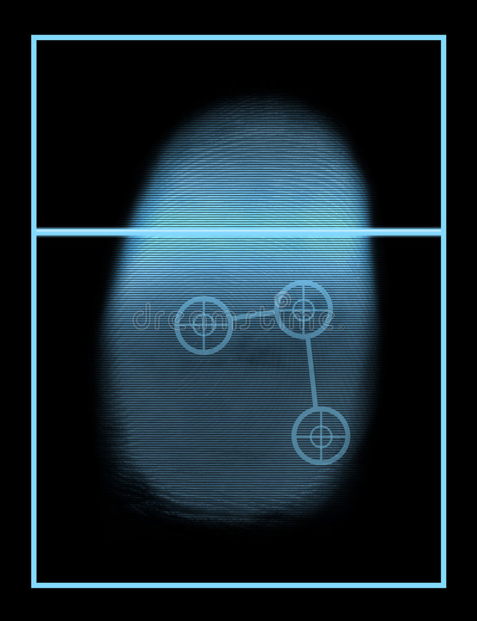 Sistema biometrico dello scanner del pollice illustrazione vettoriale