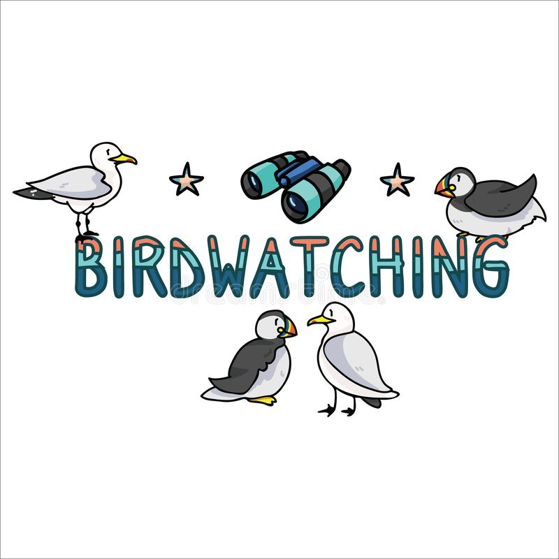 Sistema birdwatching lindo del adorno del ejemplo del vector de la historieta de las aves marinas Clipart aislado exhausto de los stock de ilustración