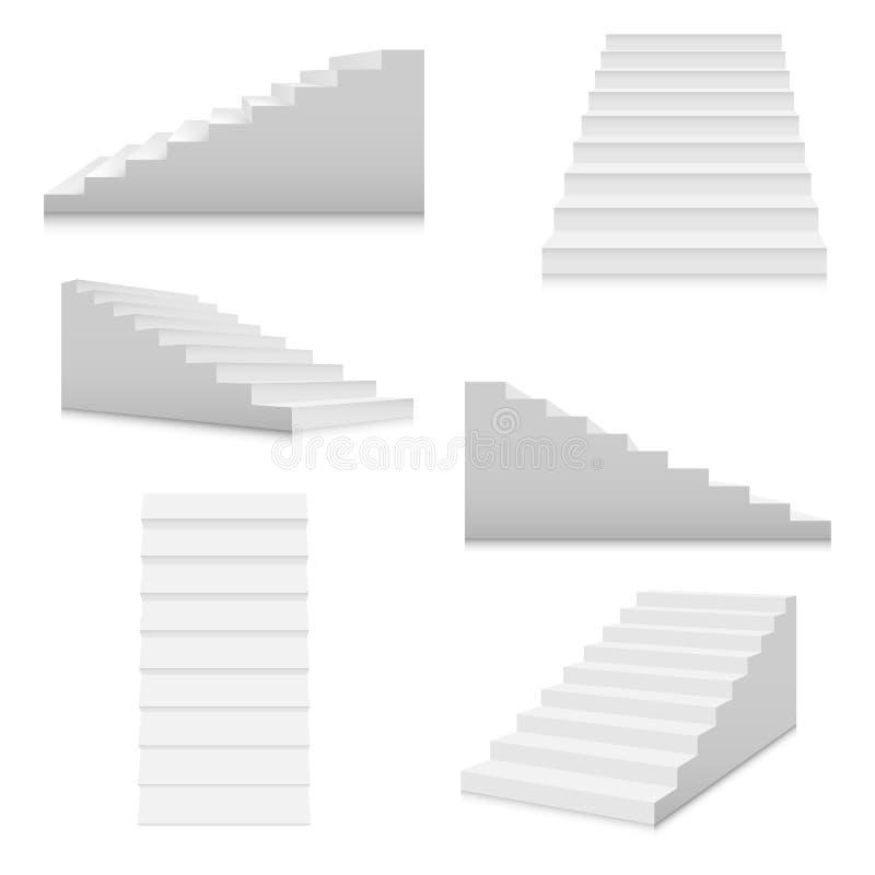 Sistema blanco de la plantilla de las escaleras Escaleras interiores en estilo de la historieta aisladas en el fondo blanco Escal libre illustration
