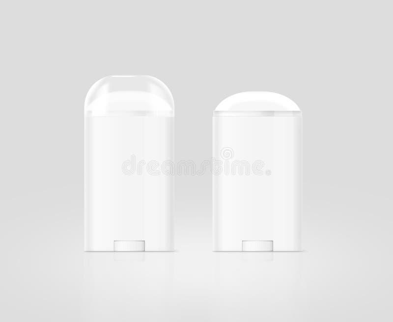 Sistema blanco en blanco de la maqueta de la botella del palillo de desodorante, aislado, trayectoria de recortes ilustración del vector