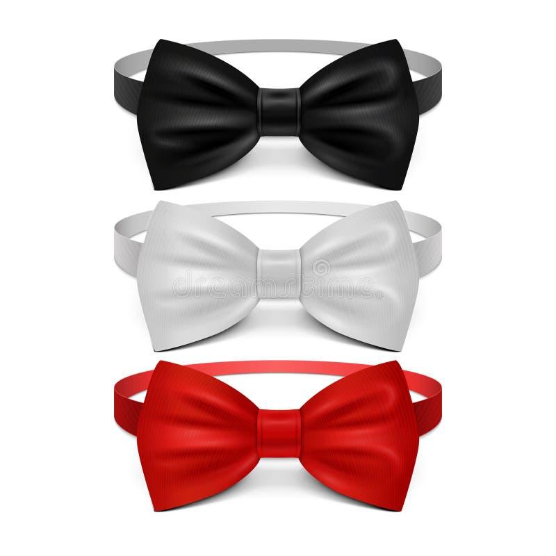 Sistema blanco, negro y rojo realista del vector de la corbata de lazo stock de ilustración
