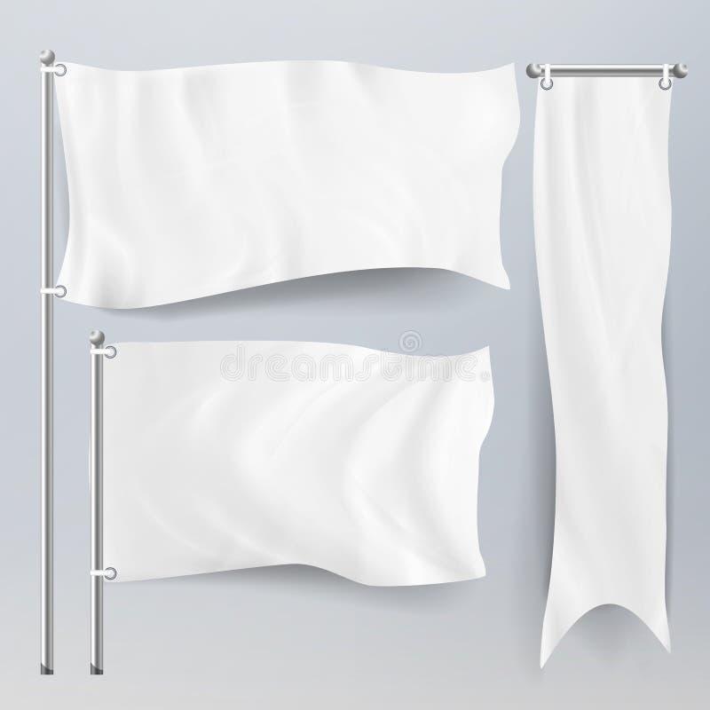 Sistema blanco realista del vector de las banderas y de las banderas de la materia textil de la publicidad Bandera de la bandera  libre illustration