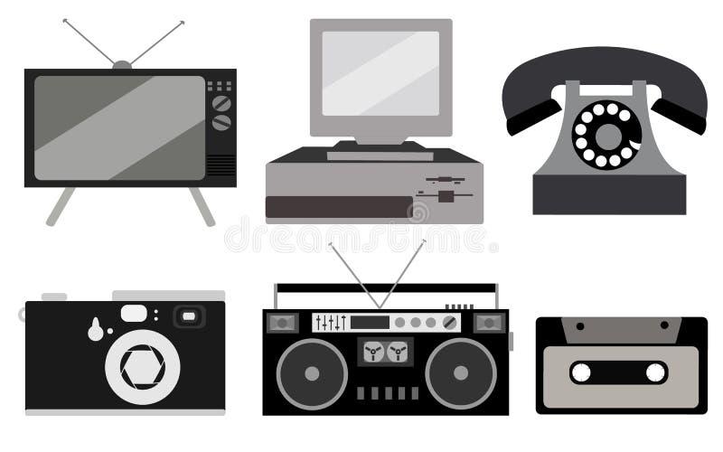 Sistema blanco y negro de electrónica retra, tecnología Viejo, vintage, retro, inconformista, cinescopio antiguo TV, ordenador co libre illustration