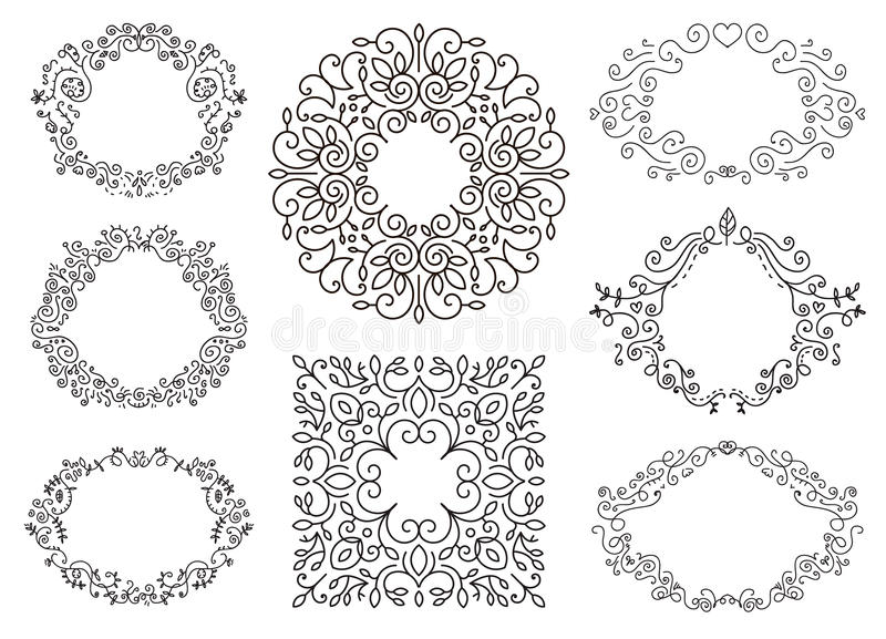 Sistema blanco y negro de la plantilla de los marcos del Flourish libre illustration