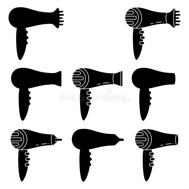 sistema blanco y negro de la silueta del hairdryer 8 ilustración del vector