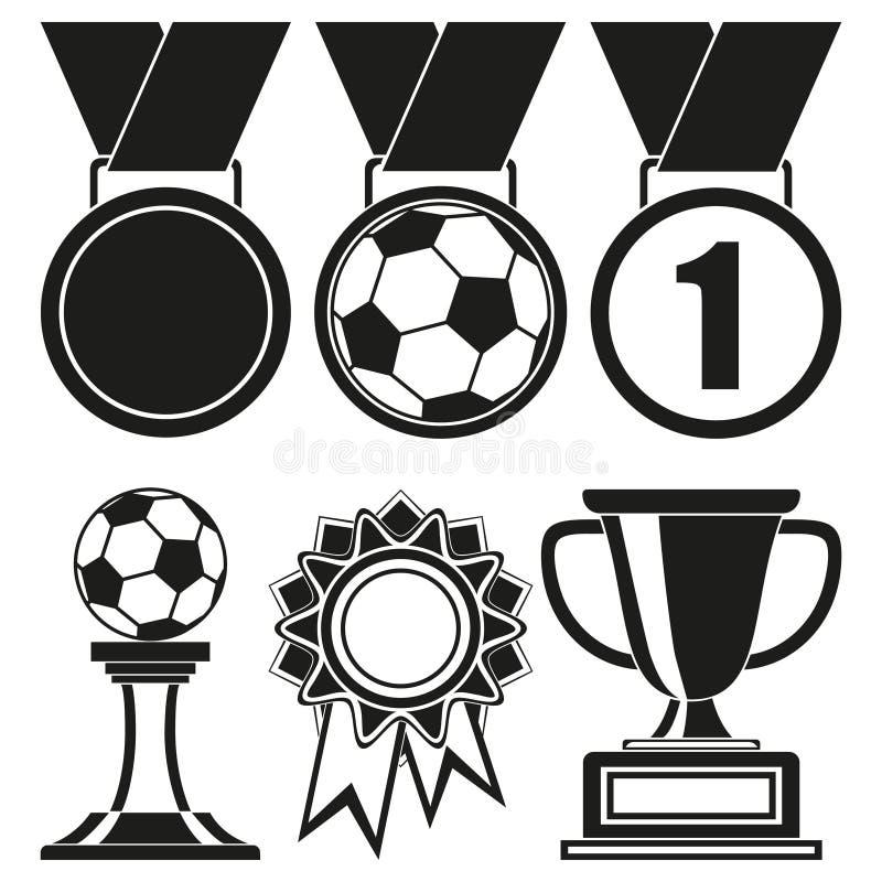 Sistema blanco y negro de la silueta del premio de 6 elementos stock de ilustración
