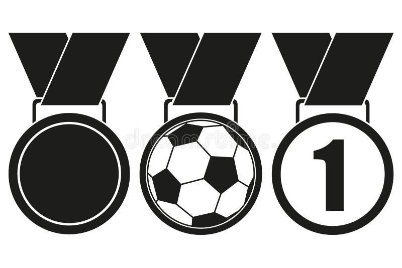 Sistema blanco y negro de la silueta de la medalla del premio stock de ilustración
