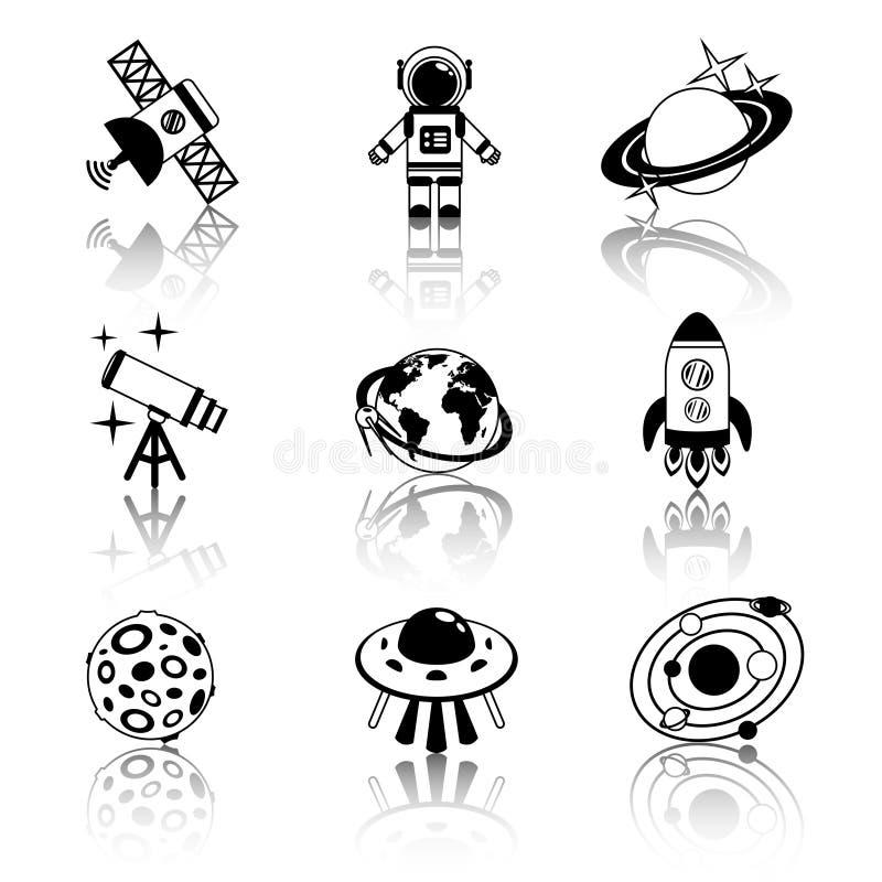 Sistema blanco y negro de los iconos del espacio ilustración del vector