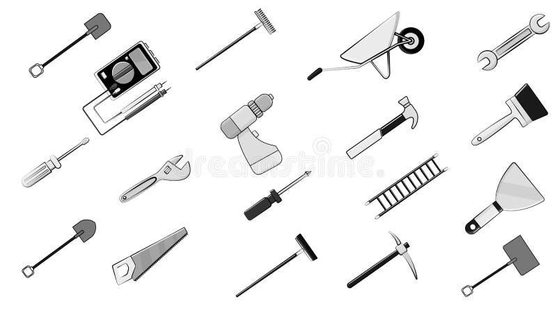 Sistema blanco y negro de los iconos para la construcción, fontanería, jardín, reparación, herramientas: pala, multímetro de ilustración del vector
