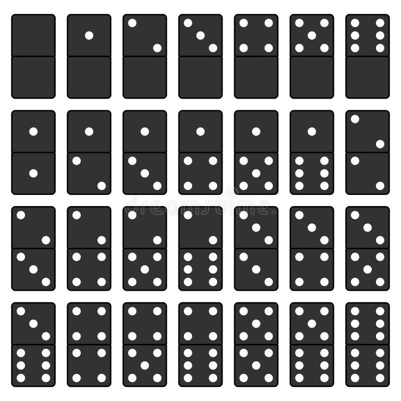 Sistema blanco y negro del dominó stock de ilustración
