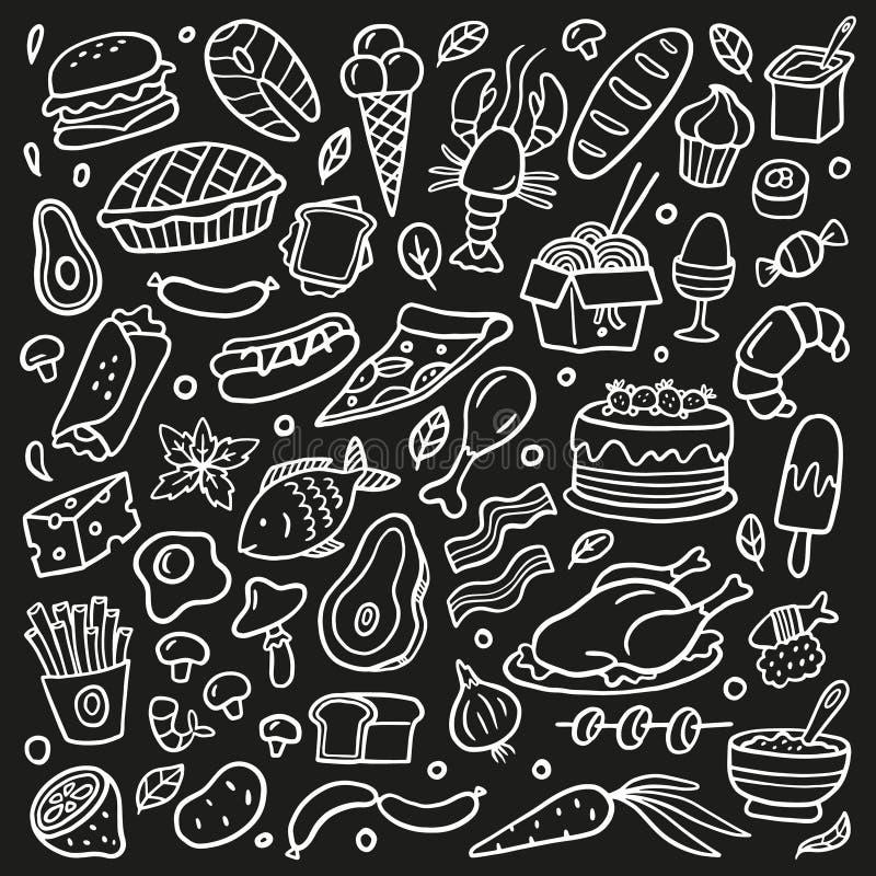 Sistema blanco y negro del garabato con la comida Mariscos, carne, hamburguesas, tallarines, verduras y dulces stock de ilustración