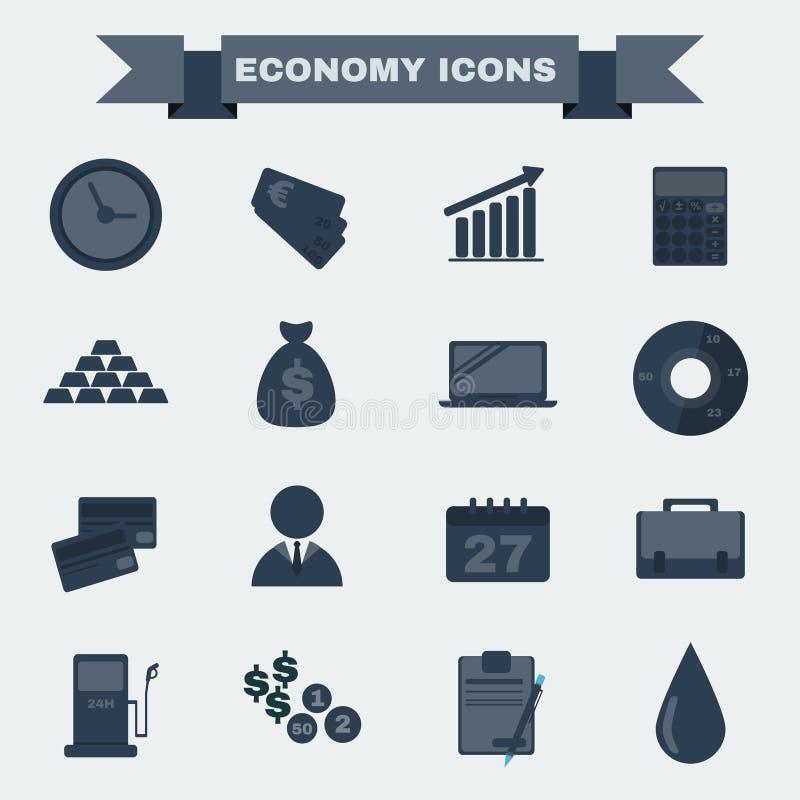 Download Sistema Blanco Y Negro Del Icono De La Economía Ilustración del Vector - Ilustración de negro, tarjeta: 64213066