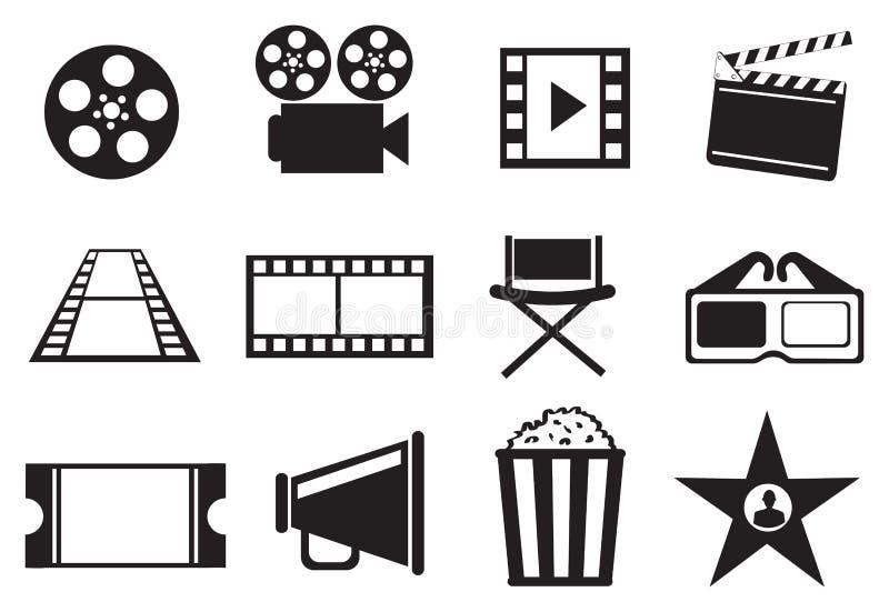 Sistema blanco y negro del icono del vector del entretenimiento de la película del cine stock de ilustración