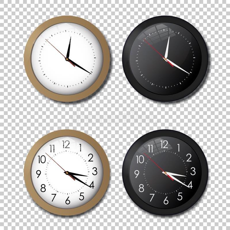 Sistema blanco y negro del icono del reloj de la oficina de la pared mostrar cinco minutos a doce Para el concepto del Año Nuevo ilustración del vector