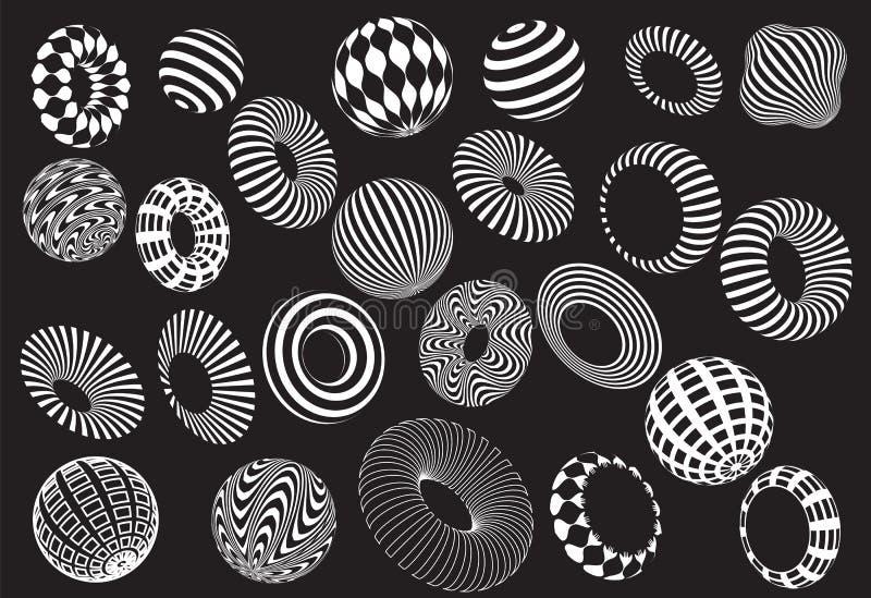 Sistema blanco y negro del vector de las formas 3d stock de ilustración