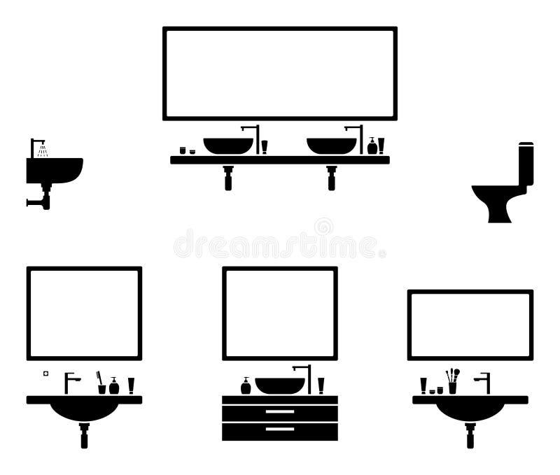 Sistema blanco y negro interior del icono del cuarto de baño Pictograma del diseño del espejo y del lavabo stock de ilustración