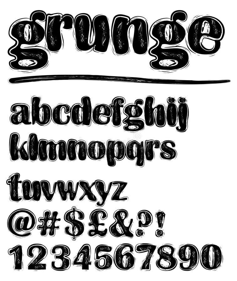 Sistema blanco y negro minúsculo estridente del alfabeto del Grunge, números, signo de interrogación ilustración del vector