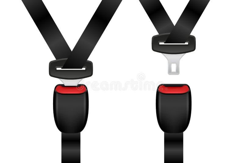 Sistema bloqueado y desbloqueado realista del cinturón de seguridad Cinturones de seguridad abiertos y cerrados del automóvil stock de ilustración