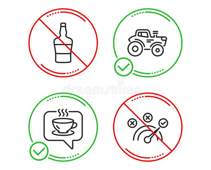 Sistema botella, de los iconos escoceses del café y del tractor Muestra de la respuesta correcta Alcohol del brandy, café, transp libre illustration