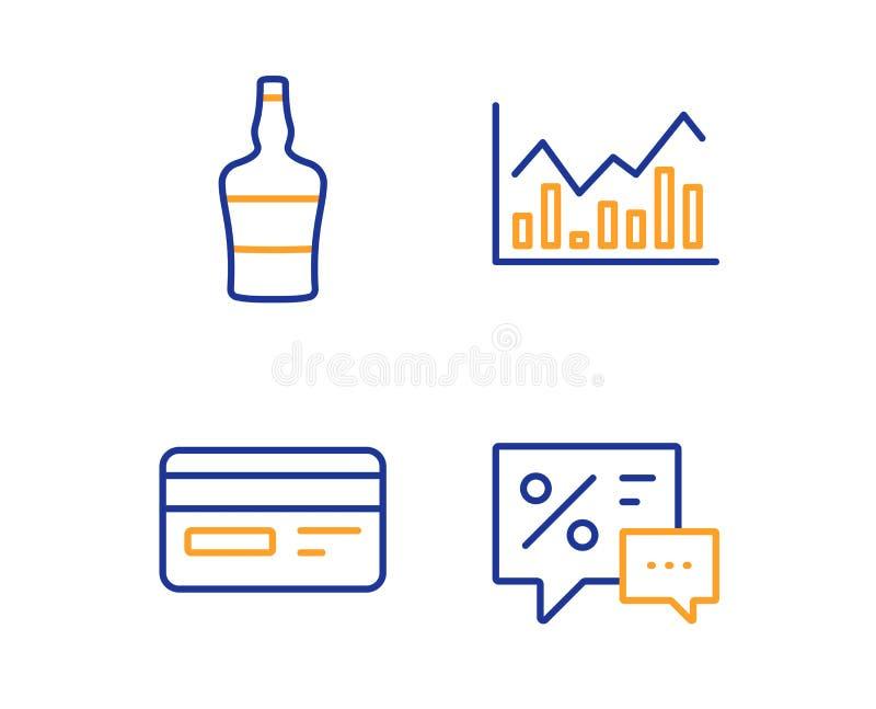 Sistema botella, tarjeta de cr?dito y de los iconos escoceses de Infochart Muestra de los descuentos Vector ilustración del vector