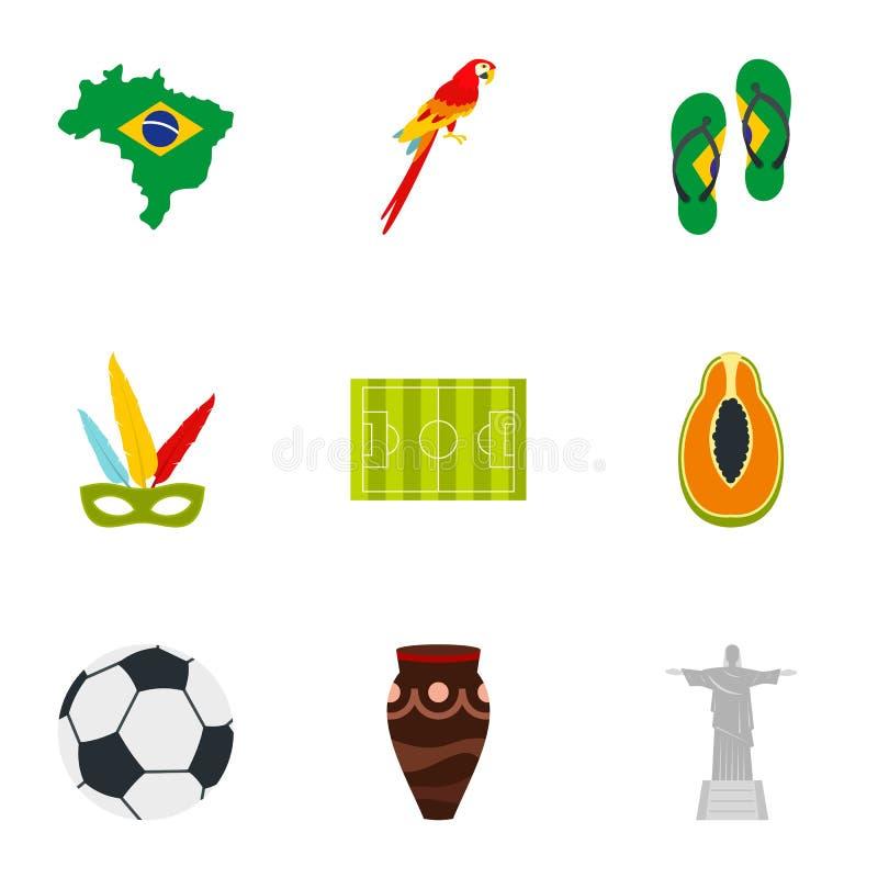 Sistema brasileño del icono, estilo plano stock de ilustración