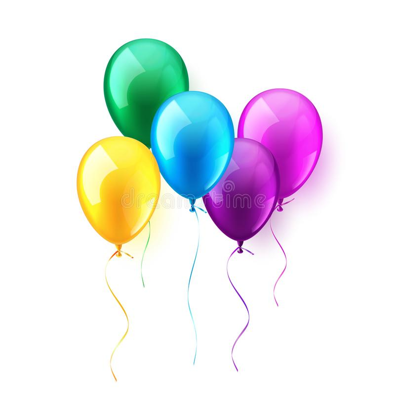 Sistema brillante colorido realista aislado de los balones de aire que vuela Fiesta de cumpleaños Cinta celebración Boda o aniver stock de ilustración