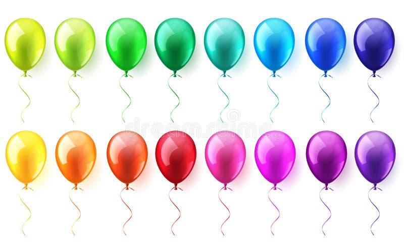 Sistema brillante colorido realista aislado de los balones de aire que vuela Fiesta de cumpleaños Cinta celebración Boda o aniver ilustración del vector