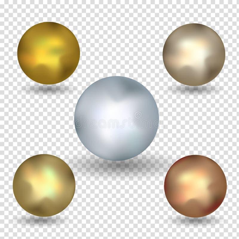 Sistema brillante de la esfera del oro aislado en blanco Ilustración del vector para su agua dulce de design Bola de oro aislada  stock de ilustración