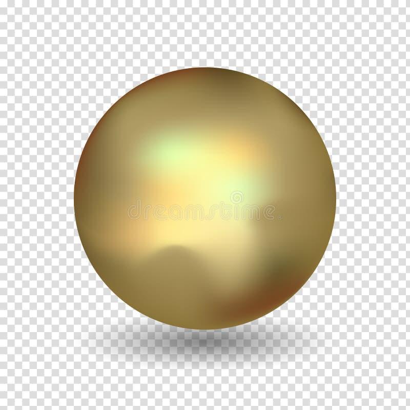 Sistema brillante de la esfera del oro aislado en blanco Ilustración del vector para su agua dulce de design Bola de oro aislada  ilustración del vector