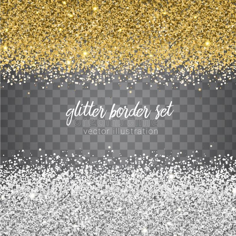 Sistema brillante de la frontera del brillo del oro y de la plata del vector aislado en tran ilustración del vector