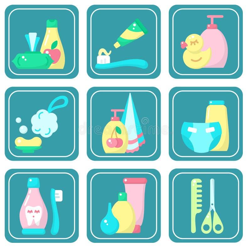 Sistema brillante de los iconos de accesorios de la higiene del beb? ilustración del vector