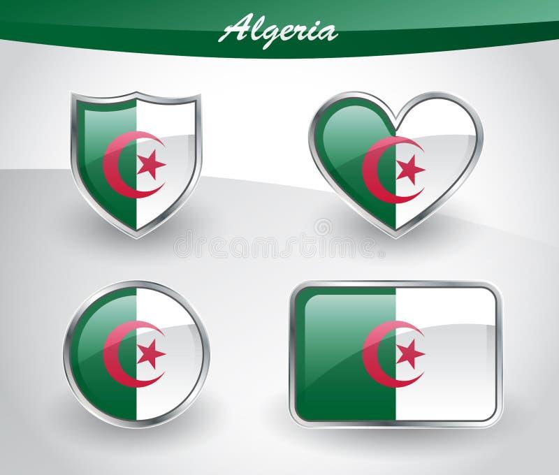 Sistema brillante del icono de la bandera de Argelia stock de ilustración