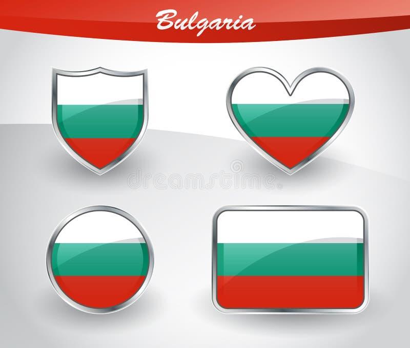 Sistema brillante del icono de la bandera de Bulgaria ilustración del vector