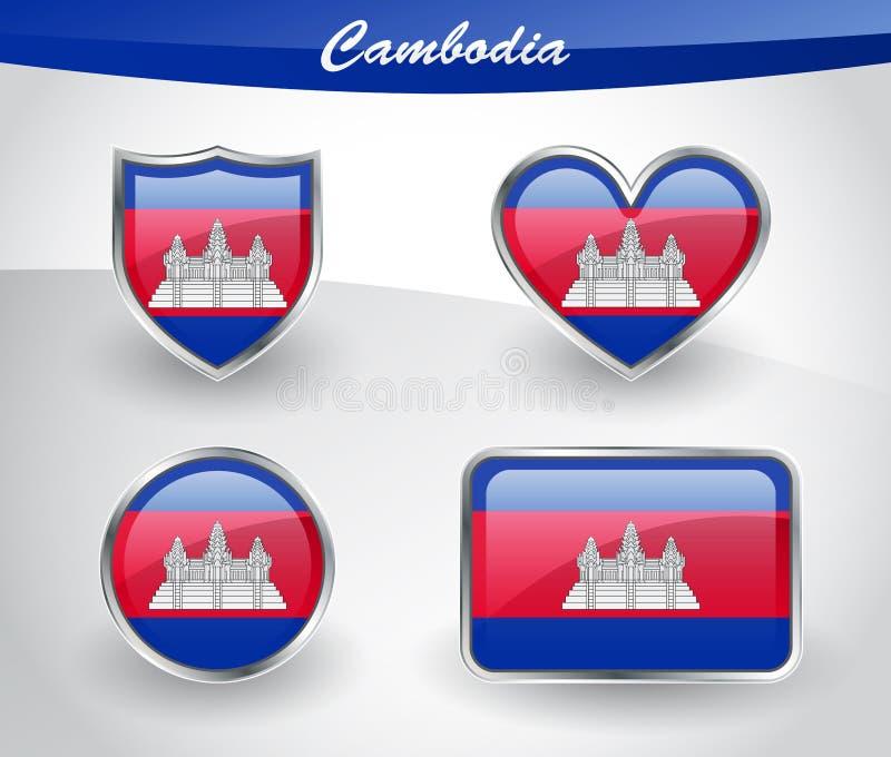 Sistema brillante del icono de la bandera de Camboya ilustración del vector