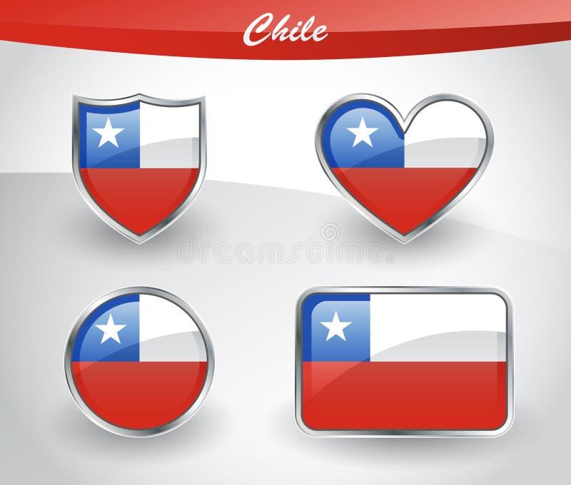 Sistema brillante del icono de la bandera de Chile ilustración del vector