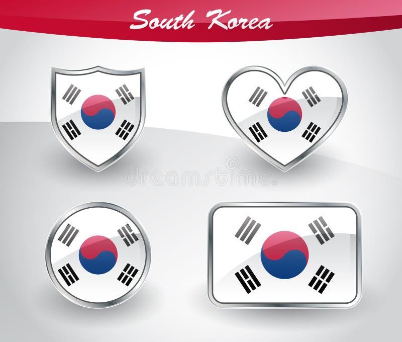 Sistema brillante del icono de la bandera de la Corea del Sur stock de ilustración