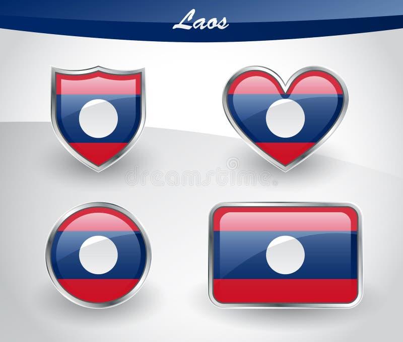 Sistema brillante del icono de la bandera de Laos stock de ilustración