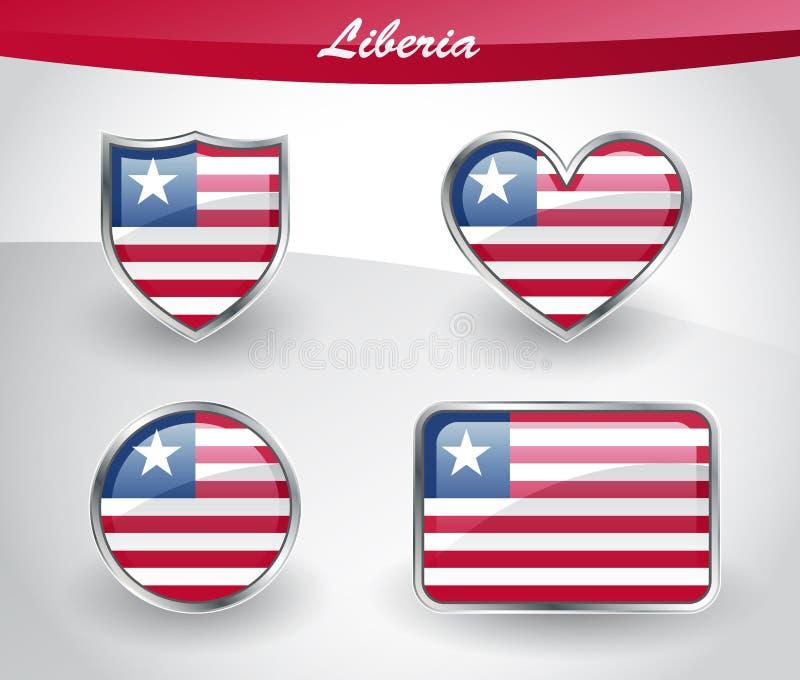 Sistema brillante del icono de la bandera de Liberia ilustración del vector