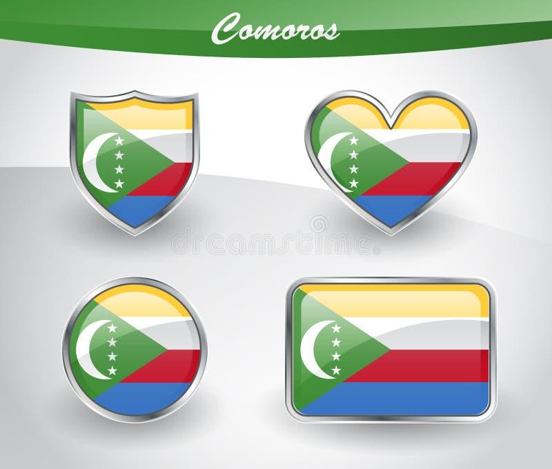 Sistema brillante del icono de la bandera de los Comoro ilustración del vector