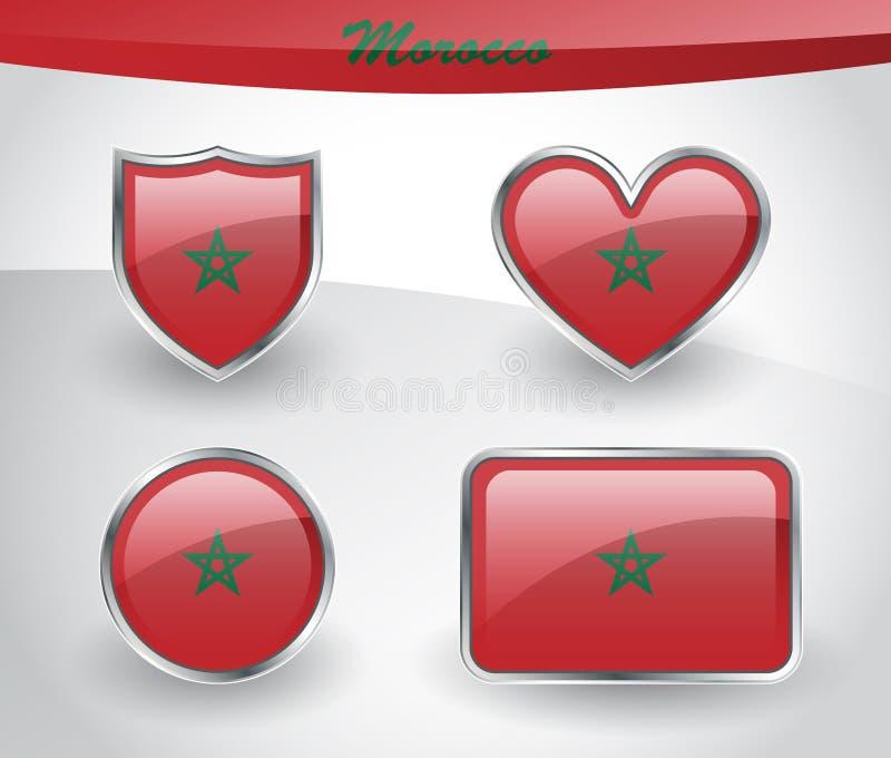 Sistema brillante del icono de la bandera de Marruecos ilustración del vector