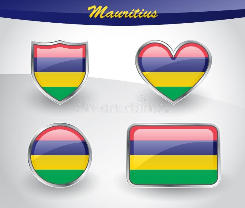 Sistema brillante del icono de la bandera de Mauricio ilustración del vector