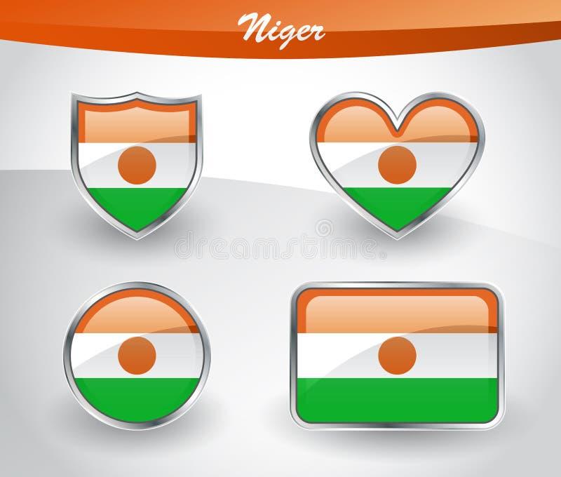 Sistema brillante del icono de la bandera de Niger libre illustration