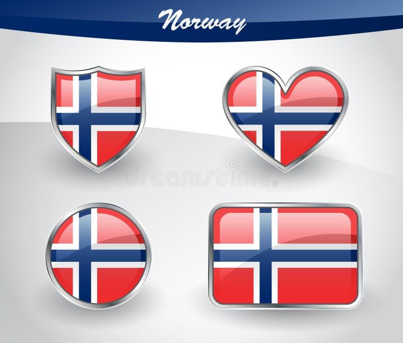 Sistema brillante del icono de la bandera de Noruega stock de ilustración