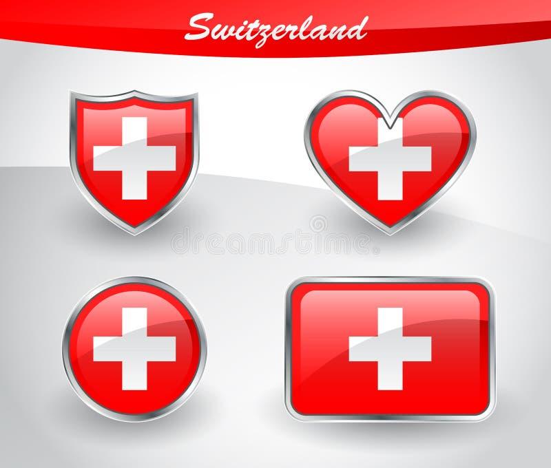 Sistema brillante del icono de la bandera de Suiza stock de ilustración