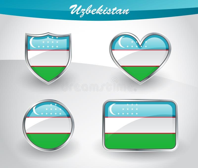 Sistema brillante del icono de la bandera de Uzbekistán stock de ilustración
