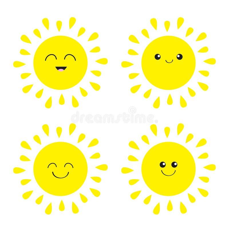 Sistema brillante del icono de Sun Kawaii hace frente con diversas emociones Carácter sonriente divertido de la historieta linda  stock de ilustración