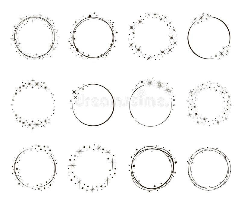 Sistema brillante del marco del círculo de la estrella, dibujo de lápiz ilustración del vector