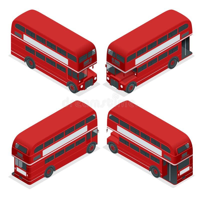 Sistema BRITÁNICO del icono del vehículo de Londres Inglaterra del autobús de dos pisos rojo altamente detallado isométrico del a ilustración del vector
