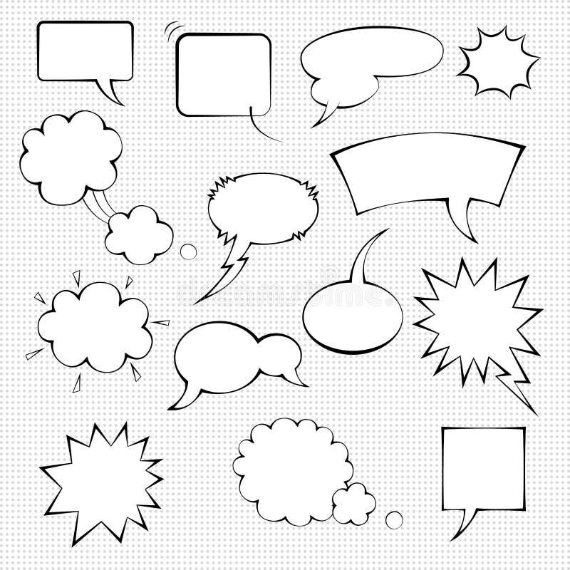 Sistema cómico de la burbuja del discurso fotos de archivo libres de regalías